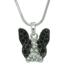 "French Bulldog Pendant Made With Swarovski Crystal Pet Dog Necklace 18"" Chain"