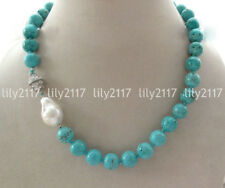 """Natural 12mm Blue Turquoise Round Gems Beads & White keishi Pearl Necklace 19"""""""