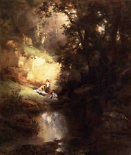 Oil art Thomas Moran - The Bathers by creek at sunset landscape free shipping