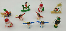 Lot of 10 Small Painted Wooden Christmas Ornaments,4 Soldiers,4 Angels,2 Santas