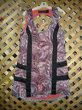 Kardashian Black & Purple & Peach Paisley Polyester Sleeveless Dress Size M NEW