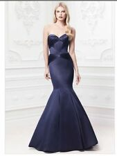 NEW- Truly Zac Posen Marine  Mermaid Long Satin Fit And Flare Dress SIZE 16