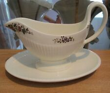 Wedgwood CONWAY Gravy w/Attached Underplate - Edme, Multicolor Floral Center