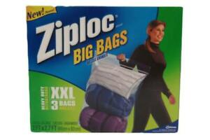 Ziploc Big Bags Heavy Duty XXL Storage Bags 3 Count 2 x 2.7 ft Clear with Handle