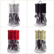 24pc Stainless Steel Cutlery Set in Stand Knives Forks Spoons Dining Utensil New