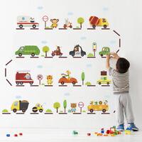 Cartoon Car Highway Wall Sticker Kid Room Kindergarten Children Nursery Decors