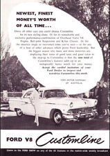 "1956 FORD CUSTOMLINE V8 AD A4 CANVAS PRINT POSTER 11.7""x8.3"""