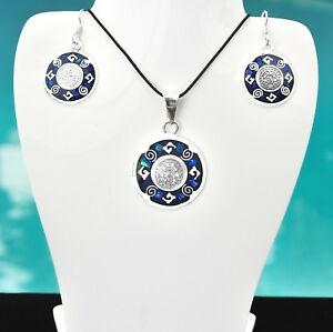 Artisan Aztec Calendar Blue Green Opal Pendant and Earring Setfrom Taxco Mexico