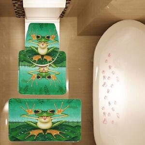 3 Piece Funny Frog Lotus Leaf Bath Mat set Bathroom Mat Toilet Cover Contour Rug