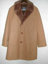 "Men's 38R CAMEL HAIR 3-Button 37""LENGTH WINTER COAT/Jacket FAUX SHEEPSKIN Collar"