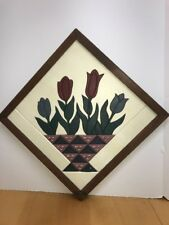 Urban Farmhouse Tulip Basket Hand Carved Wood Wall Plaque EWE Creations USA