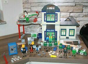 Playmobil große Polizeistation Polizei Wache Hubschrauber Figuren Zubehör