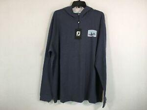 Men's Footjoy Ohana Long Sleeve Pullover Hoodie, Size 2XL - Navy Blue/Multi