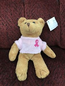 FREE SHIPPING-2001 AVON Breast Cancer Crusade plush bead Teddy Bear Pink Ribbon