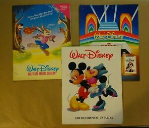 Lot of 3 - 80'S DISNEY Movies Film Rental Catalog Books - Vintage & Collectible