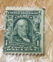 Benjamin Franklin Stamp VERY RARE! ANTIQUE 1907 1 CENT STAMP