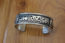 BR398 Tibetan Silver Men Bracelets Six Mantra Weaving Bangle Cuff Nepal Jewelry