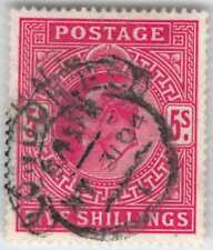 1902-11 King George 5/-, Scott 140, Vf-Xf Centering, 1904 Cancel, Lt Ur Crs $225
