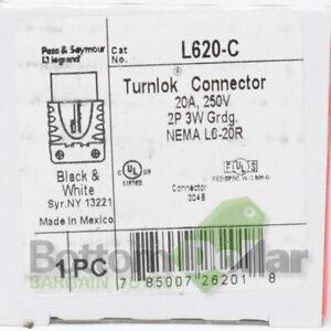 Legrand Pass & Seymour L620-C Nema L6-20C 20A 250V Turnlok Connector Black/White