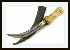 """ANTIQUE ISLAMIC PERSIAN """"KHANJAR"""" DAGGER WITH WOOTZ DAMASCUS BLADE (shamshir)"""