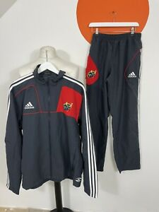 Men's Adidas Munster Rugby Union Full Tracksuit Track Jacket Track Pants Grey XL