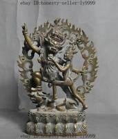 "8"" old tibetan buddhism fane bronze Happy Buddha Mahakala buddha Exorcism statue"