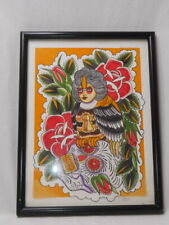 New listing HAND PAINTED WOMAN w/ KEY HOLE PARROT FLORAL TATOO ART- SIGNED FRANK 2011