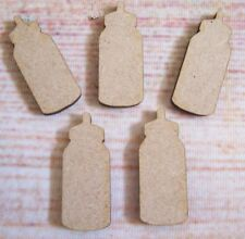 Baby Bottles Shapes WOODEN  MDF  TAGS  15x Mini Laser cut