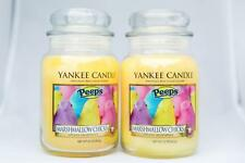 2 Yankee Candle Co 22 oz Peeps Marshmallow Chicks Candle Glass Jar Candles Large