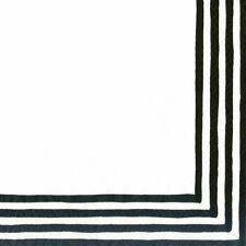Caspari Paper Luncheon Napkins, Border Stripe Black & White, 2 Packs (9000L)
