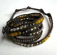 Nakamol 5 Wrap up Czech Crystal, Agate, Metal Beads & Chocolate Leather Bracelet