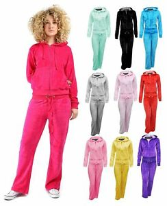 Womens Hooded Velour Comfortable Plus Size Jogging Lounge Top Bottom Tracksuit