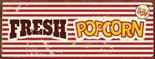 Fresh Popcorn Metal Sign, Movie Room, Home Cinema, Den, Retro Décor