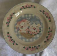 "Lot of 6 Tienshan Stoneware Pig Pals Salad Dessert Plates 7 3/4"""