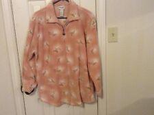 Monterey by Koret Med pink print fleece polyester jacket full zip 2 side pockets