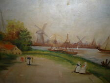 "M.L.Whalen artist: O/C: framed: ""Dutch Settlement-windmills""primitive early?Wow!"