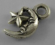 9g (Approx 30pcs) Tibetan Silver Colour Moon and Star Charm