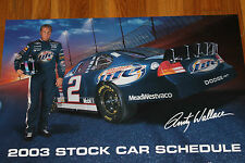 LAST ONE 2003 Miller Lite Rusty Wallace MGD Car Schedule Racing Nascar Poster
