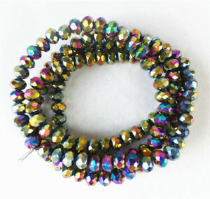 """1 Strand 4x3mm Multicolor Crystal Glass Facet Wheel Spacer Beads 15.5"""" BB4681^"""