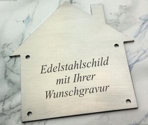 TÜRSCHILD in Haus-Form 100x100mm aus Edelstahl (V2A) - mit Ihrer WUNSCHGRAVUR
