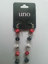 1 Pair Of Dice Drop Earrings - UNO - Red, Black and White - NEW