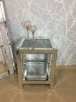 Diamond Crush Silver Sparkle Mirror Glass Crushed Crystal End Lamp Bedside Table