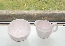 Royal Albert Bone China Similar Pierette 291 Pink With Dots Cream Jug Sugar Bowl