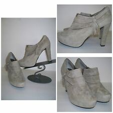 "Micro Gray Suede Leather "" Me Too "" Women's Platform Ankle Boot Bootie Heels 10"
