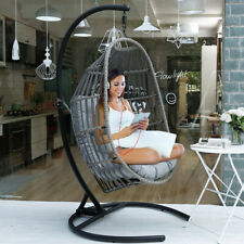 Large Patio Hanging Swing Egg Chair Hammock with Stand Cushions Outdoor Chair