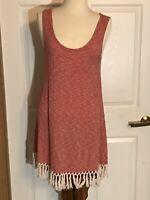 UMGEE Ribbed Knit Tunic BOHO Sleeveless RED w/ Off White Tassel Fringe -  Medium