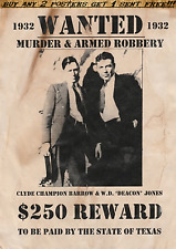 BONNIE AND CLYDE PARKER BANK ROBBERY PUBLIC CRIME WANTED POSTER ALCATRAZ BARROW