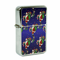 Refillable Oil Windproof Flip Top Lighter Santa Claus Christmas Retro Vintage