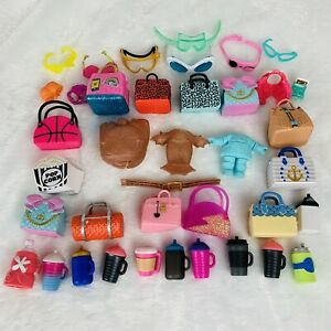 LOL Surprise Doll HUGE Lot of Accessories Purses Bottles Clothing Glasses Bags