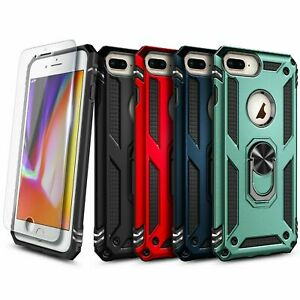 For iPhone 6 6s 7 8 Case Ring Kickstand Cover With Tempered Glass Protector